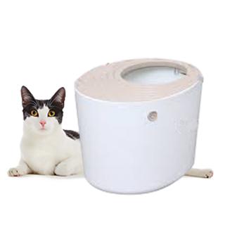 ห้องน้ำสำหรับแมว แบบหลุมนำเข้าญี่ปุ่น ไม่ฟุ้ง มีความเป็นส่วนตัว สวยงาม ขนาดใหญ่ IRIS JAPAN สีขาว