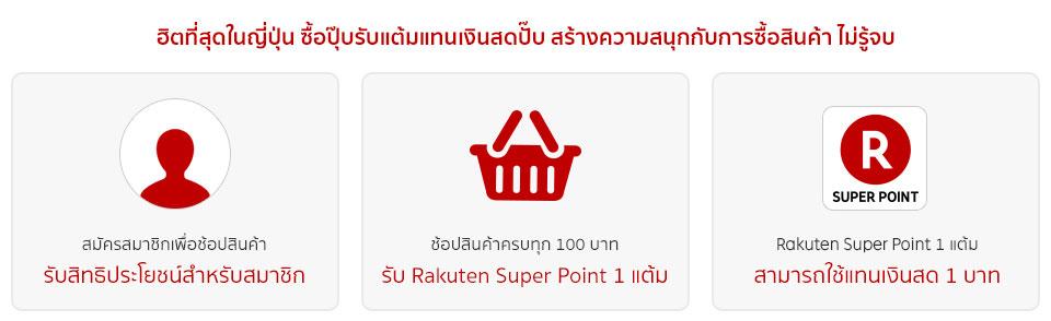 Rakuten Super Point ระบบสะสมแต้มสำหรับสมาชิกเมื่อช้อปสินค้า, สมัครสมาชิกเพื่อช้อปสินค้า รับสิทธิประโยชน์สำหรับสมาชิก, ช้อปสินค้าครบทุก 100 บาท รับ Rakuten Super Point 1 แต้ม, Rakuten Super Point 1 แต้ม สามารถใช้แทนเงินสด 1 บาท